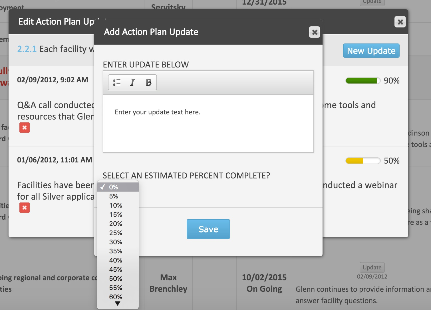 Add action plan update (percent complete)